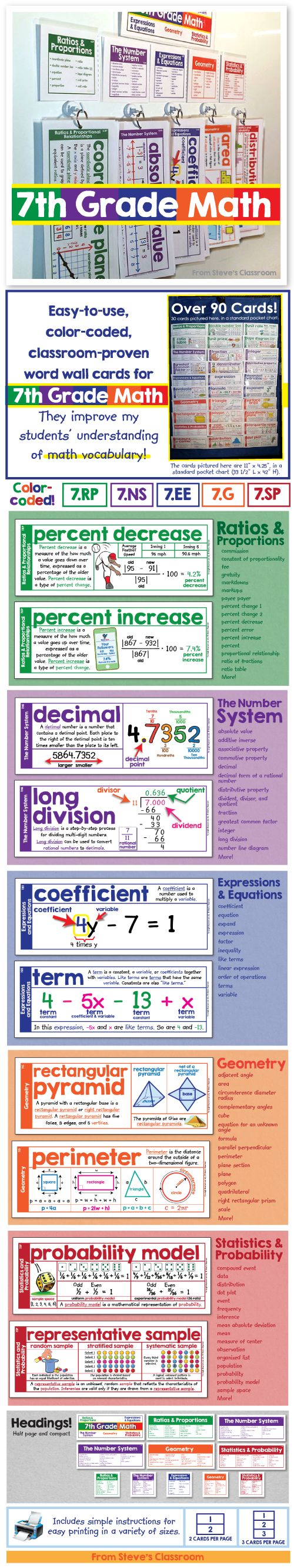 Bring 7th grade math vocabulary to life with these easy-to-use word wall cards. The illustrations help students understand seventh grade math concepts like ratios and proportions, the number system, expressions and equations, geometry, and statistics. The color coding makes it easy to stay organized and identify the different domains, even from a distance.