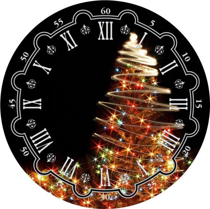 Открытки, картинки новогодних часов без стрелок для печати