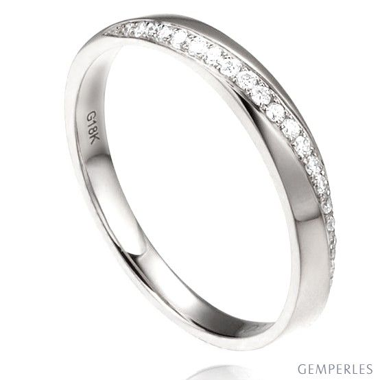 Alliance Femme Or blanc 18cts, diamants. Ondulation