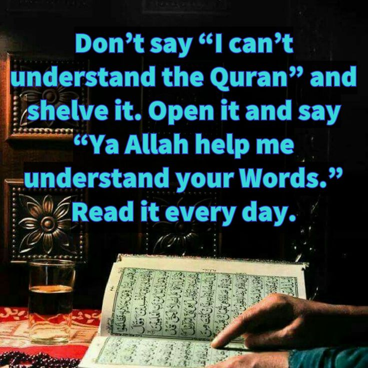 "Don't say ""I can't understand the Quran"" and shelve it. Open it and say ""Ya Allah help me understand your Words."" Read it every day."