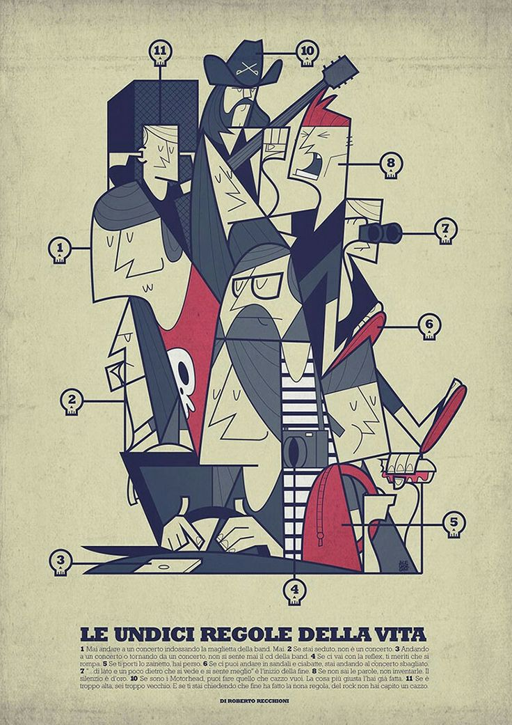 Eleven rules of life and of the concerts written by Roberto Recchioni and illustrated by Ale Giorgini for Rockit