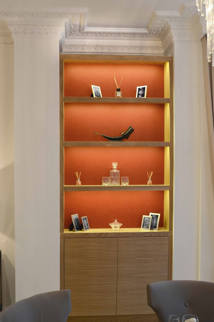 Bespoke Bookcase in Light Oak and Red Leather Back Panels | JHR Interiors