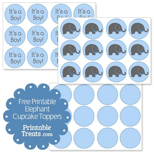 Free Printable Elephant Cupcake Toppers - Printable Treats