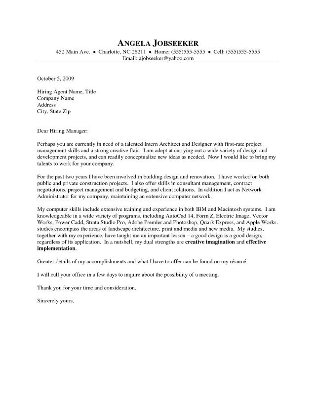 23+ Architecture Cover Letter | Cover Letter Resume | Pinterest ...