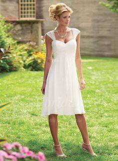 Kleider für die Brautmutter - $96.36 - A-Linie/Princess-Linie Herzausschnitt Knielang Chiffon Kleid für die Brautmutter mit Rüschen (0085060316)