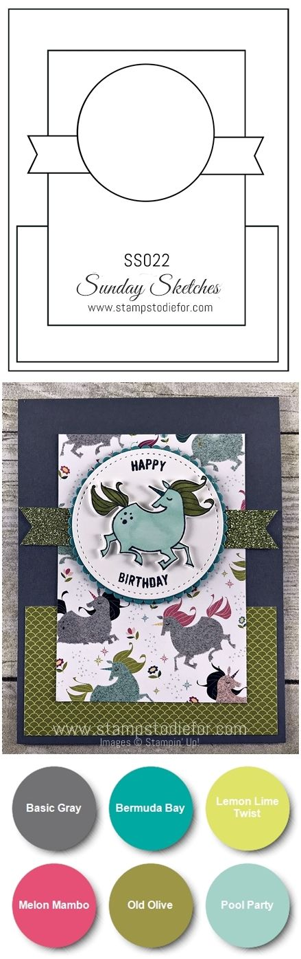 SS022 hand stamped birthday card using the Magical Day Stamp Set by Stampin Up-vert