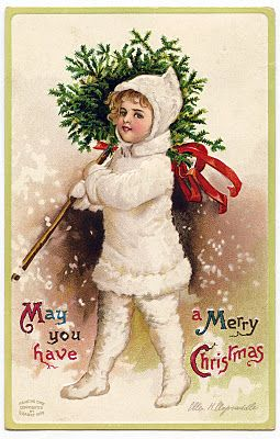 Vintage Christmas Graphic – Snow Girl with Topiary I'm thinking something like this would be super cute mod podged onto the back of a clear glass plate.