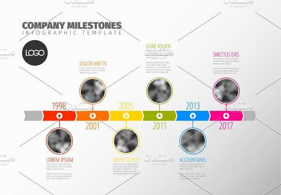 Timeline template with photos by Orson on @creativemarket