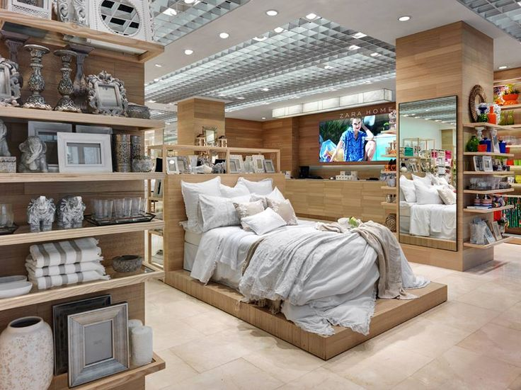 new zara home store milan interior visual merchandising bed display