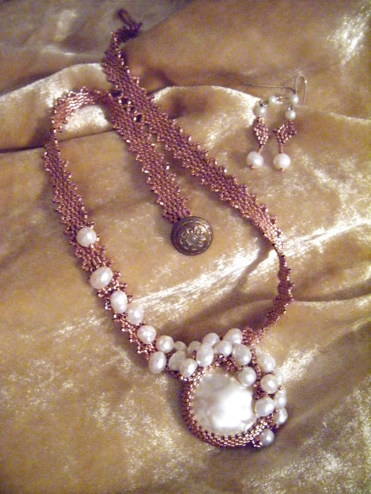 Pearls and copper BEADED by Sharon A Kyser... Pattern from Bead and Button by http://www.dianedennisbeadwork.com/  Her work is so lovely!