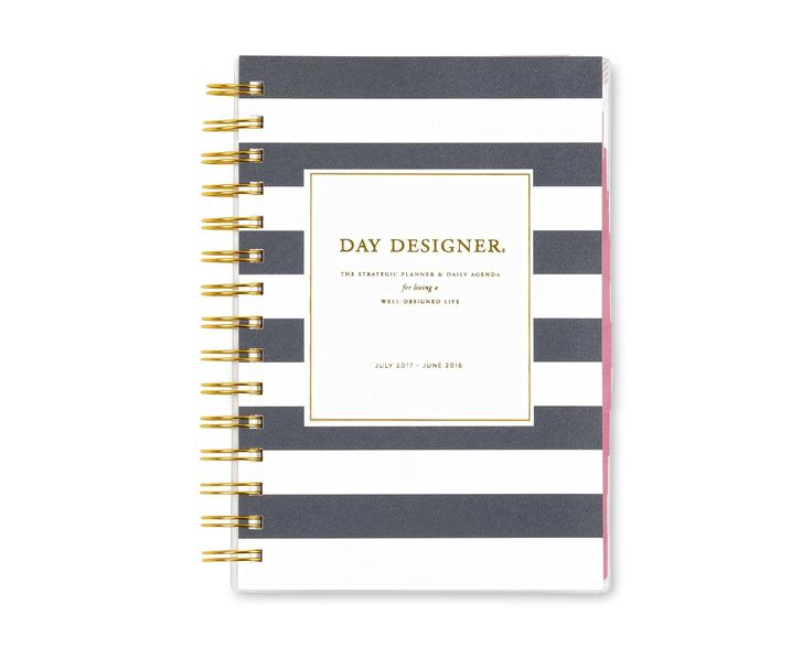 "Day Designer for Blue Sky 2017-2018 Academic Year Daily & Monthly Planner, Twin-Wire Bound, 5"" x 8"", Navy Stripe #Ad"