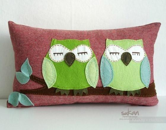 Забавные подушки совушки. Идеи для вдохновения.