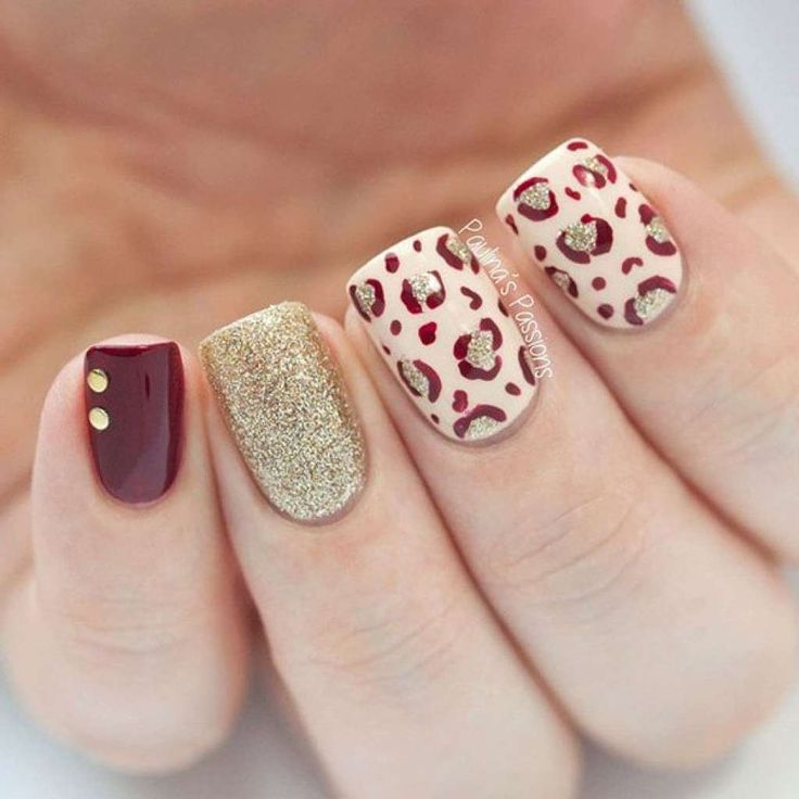 Stylish manicure with leopard print and sand nail polish :: one1lady.com :: #nail #nails #nailart #manicure