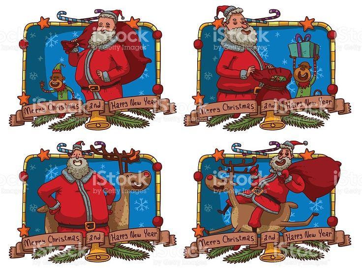 Conjunto de quatro cartões de Natal com diferentes Santa cláusula vetor e ilustração royalty-free royalty-free