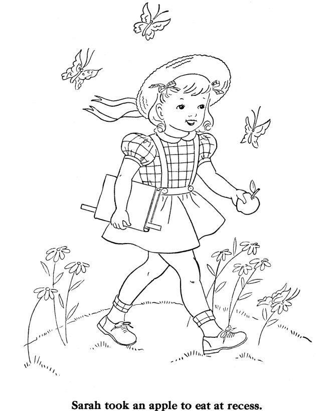 Back To School Coloring Pages   ... Coloring Pages - Girl going to School - Free Printable Kids Coloring