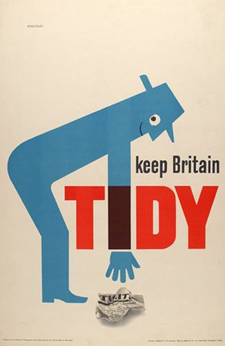 Mid-century poster by Tom Eckersley. Nobody likes an untidy Britain!