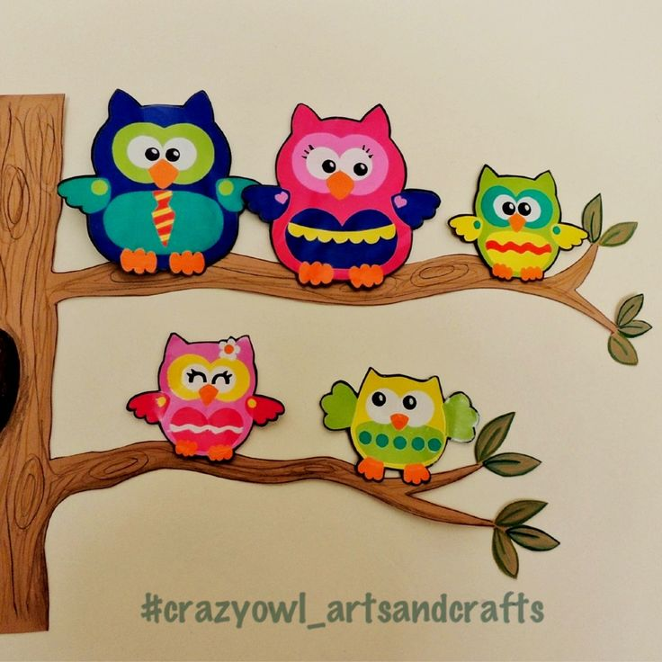Mural de pared con familia de buhos (papis y 3 hermanos) / owl familly tree for wall decoration - crazy owl arts&crafts (instagram, facebook, pinterest)