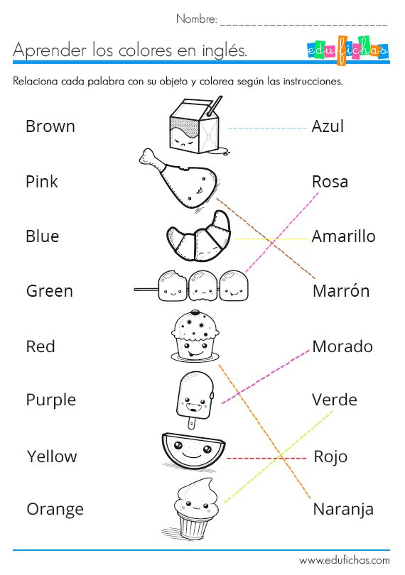 Aprender los colores en inglés  http://www.edufichas.com/actividades/idiomas/ingles/aprender-colores-ingles-coloreando/  #ingles #educacion