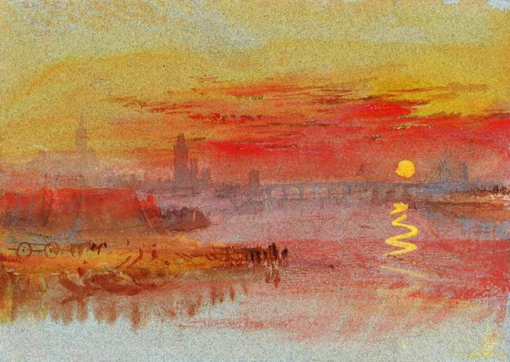 "CLICK to See Artworks that inspired the Oscar Nominated Movie 'Mr Turner'.They are entirely based on the effects of light. In ""Sunset"", the city behind has lost its visibility. It has been covered by the changing color of sky"