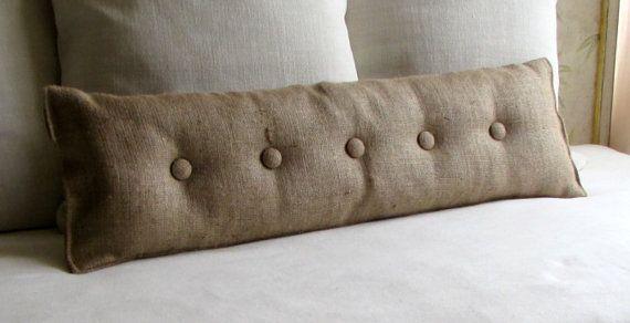 Burlap with Natural Burlap buttons sofa or long bed pillow 36X11, 27X11