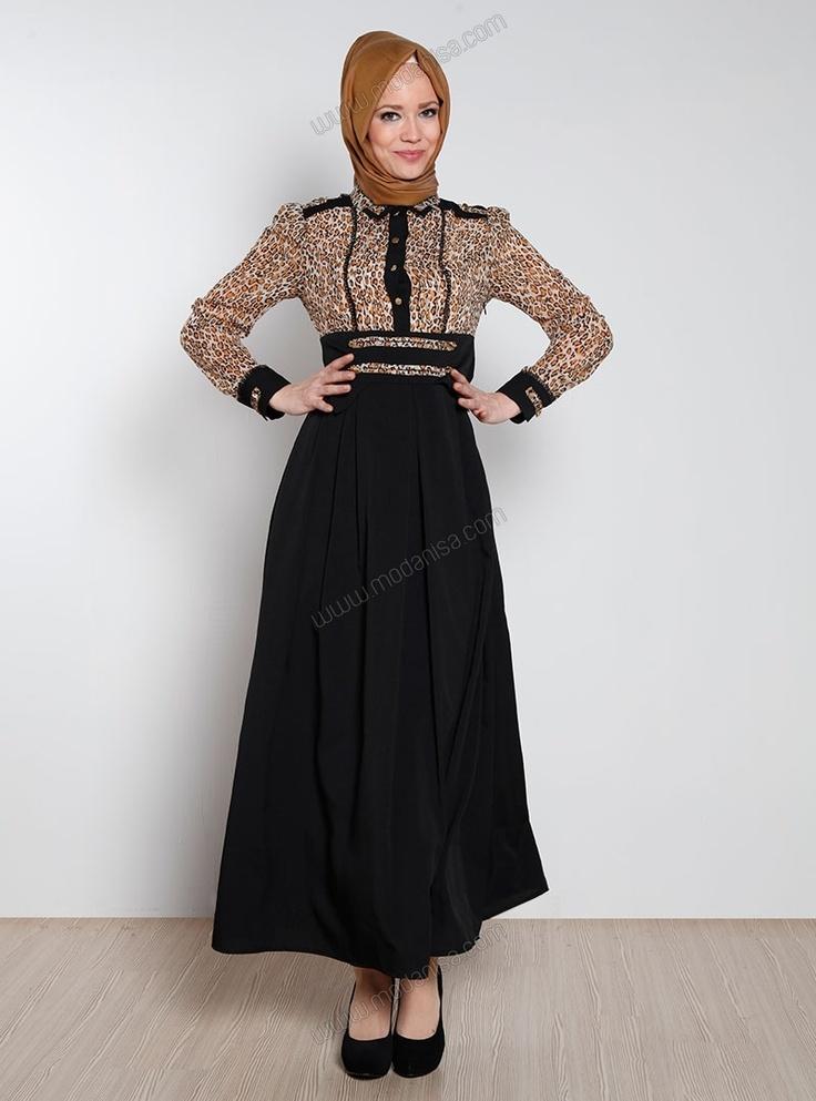 Üst Kısmı Leoparlı Elbise 9000 - Siyah