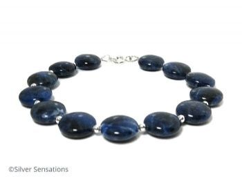 Navy Blue Sodalite Coins Bracelet & Sterling Silver #Craftbiz #brumisbrill #Unisex #shopping  https://www.silver-sensations.co.uk/navy-blue-sodalite-gemstones--sterling-silver-beaded-bracelet-8076-p.asp
