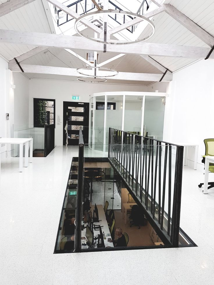 Glass meeting room, glass walk on floor panels and