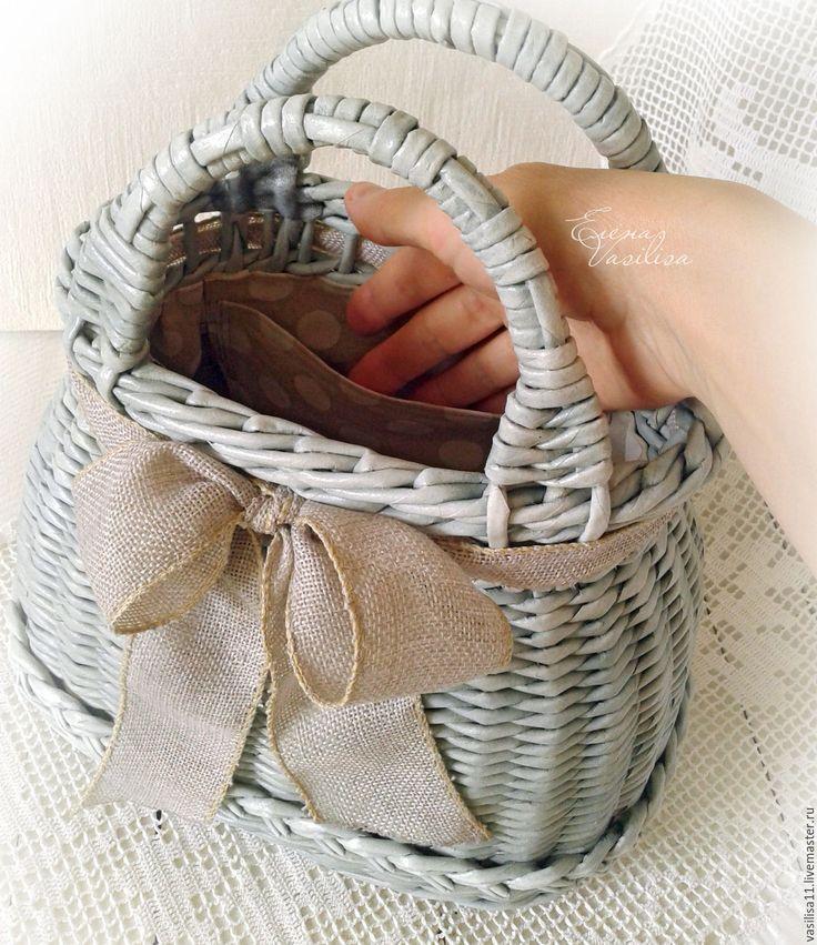 Купить Сумочка женская плетеная Весенняя - сумочка, корзинка, плетеная, шебби-шик, прованс, нежная