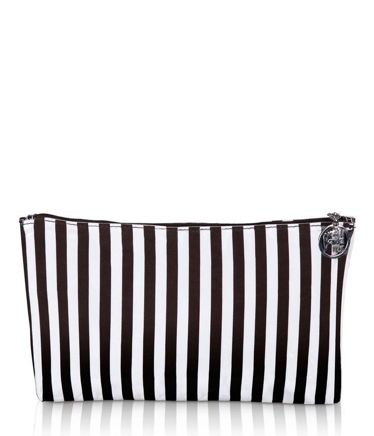 brown & white stripe large cosmetic bag - cosmetic bag - designer cosmetic cases
