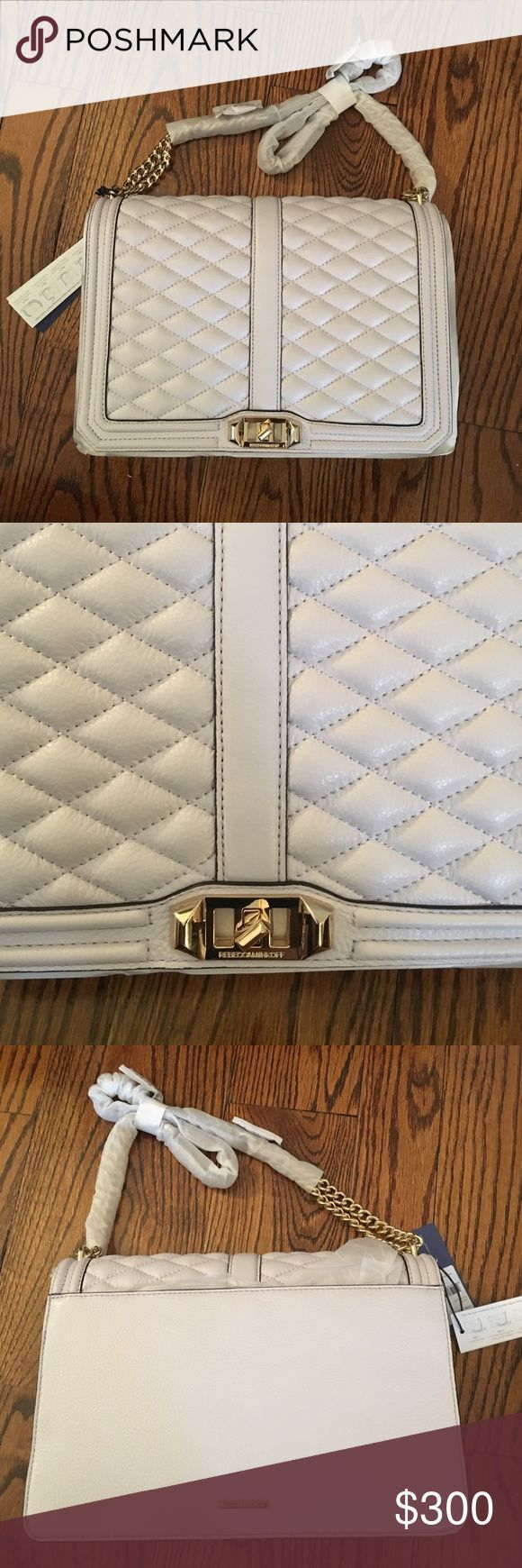Rebecca Minkoff Quilted cross body Brand new - never used. Light lilac almost white color Rebecca Minkoff Bags Crossbody Bags