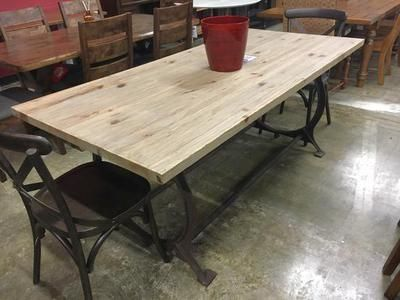 One Of A Kind Cast Iron Base And Solid Wood Table On Sale Now Come