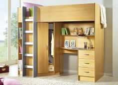 Childrens high sleeper beds with wardrobe and desk.
