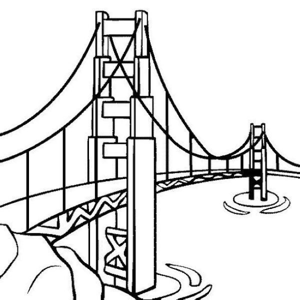 Bridge Coloring Pages Collection Golden Gate Bridge Colorful
