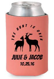 FREE SHIPPING The Hunt Is Over Reception Wedding Reunion Can Bottle Holder Party Favors Trinkets Coolers Personalized Custom Beer Can Foam by WeddingsandReunions on Etsy