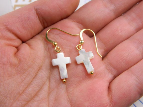Dangling cross earringspearl shell cross by BarakaCustomJewelry