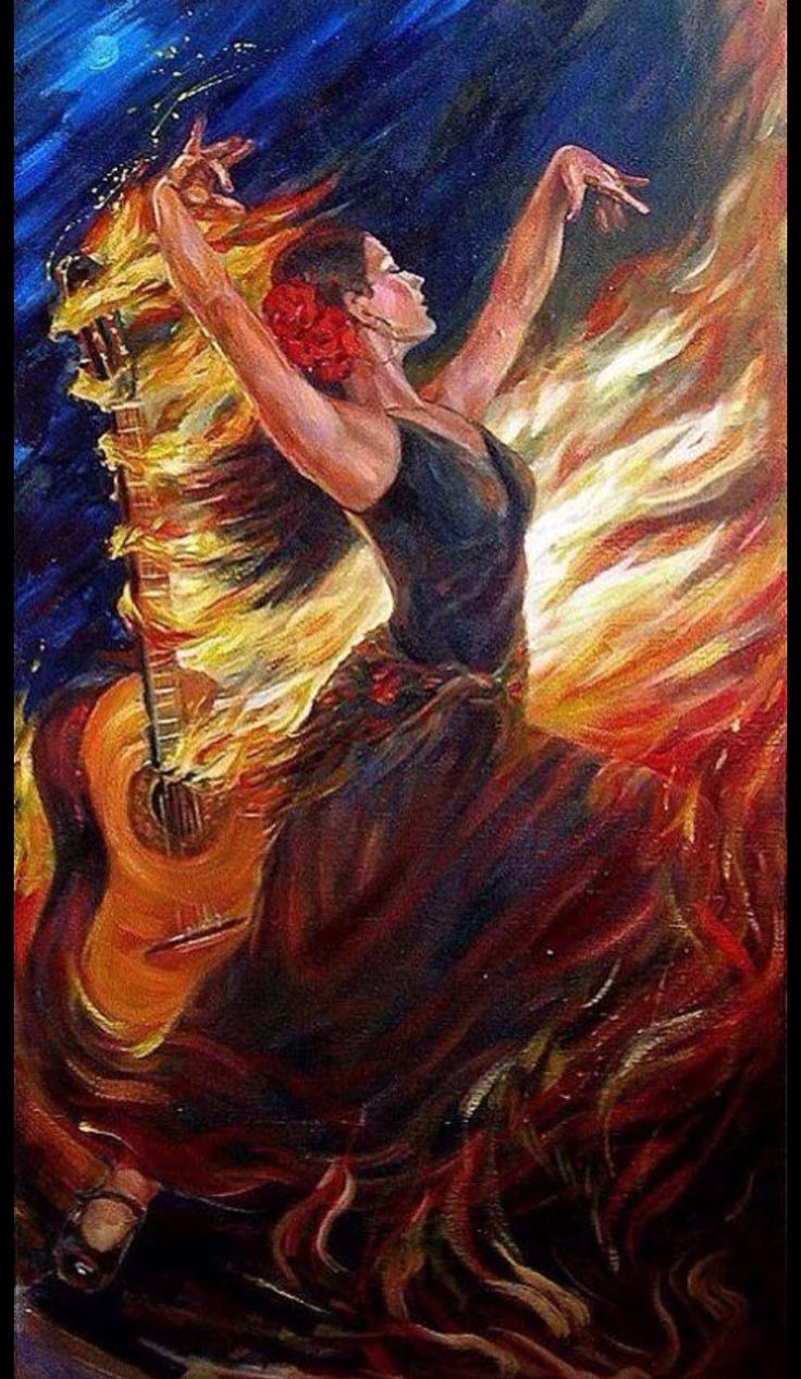 Wow! Woman praising the Lord with strings and dancing, anointing on fire. Prophetic art. tumblr_nrggif1