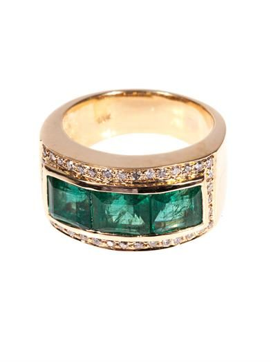 Jade Jagger Diamond, emerald & yellow-gold ring MATCHESFASHION.COM #MATCHESFASHION