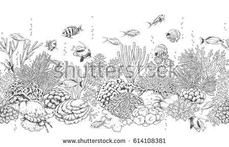 Hand drawn underwater natural elements. Seamless line horizontal pattern with reef corals, actinia, clams and swimming fishes. Monochrome sea bottom texture. Black and white illustration.