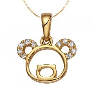 Teddy Bear Diamond Pendant on 10k Yellow Gold