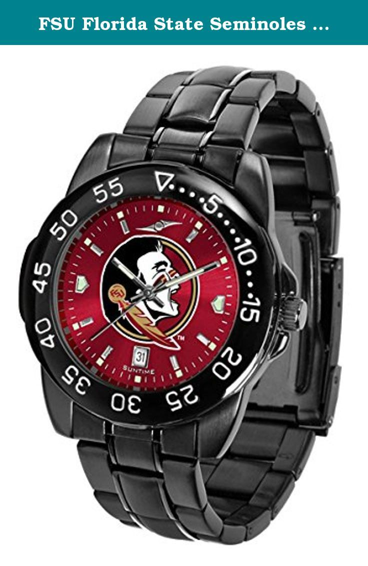 FSU Florida State Seminoles Men's Logo Watch. Men's FantomSport AnoChrome Watch by Suntime The FantomSport boasts a bold but not in your face image of your favorite school logo in metallic silver on a black Ano-Chrome dial. The watch features a dark gunmetal finish, a date calendar display and a rotating bezel/timer that circles the scratch-resistant glass crystal. The AnoChrome dial option increases the visual impact of any watch with a stunning radial reflection similar to that of the...