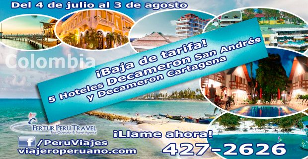 Promociones Decameron San Andrés y Cartagena - Colombia. Cotice hoy con Fertur Perú Travel.