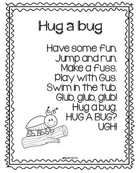 Use this poem with your kiddos for a poetry unit or a study on bugs!