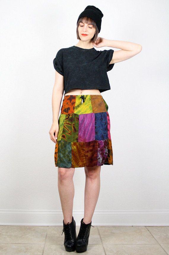 Vintage 90s Skirt Boho Hippie Patchwork Skirt Tie Dye Rainbow Soft Grunge Skirt Festival Skirt Mini Skirt 1990s Hipster Skirt XS S Small M by ShopTwitchVintage #vintage #etsy #90s #1990s #skirt #tiedye #tiedyed #mini #boho #grunge #softgrunge #hippie #pathwork