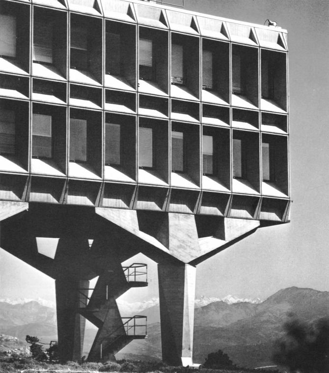 From an excellent site on Brutalist architecture. Love the heavy angular design, the concrete and steel, and the architect's obvious imposition of his will on the landscape. Apparently, this is Marcel Breuer's IBM Research Complex, La Gaude, France - 1961.