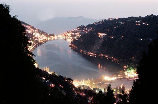Nainital lake view in night