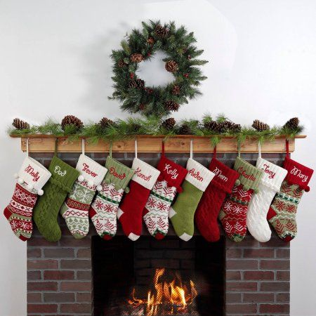 Personalized Snowflake Knit Christmas Stocking, Available in 11 Designs, Green