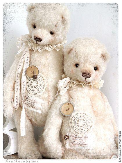 Белые мишки - большой мишка,тедди медведи,синий,большой тедди,зима,Снег: