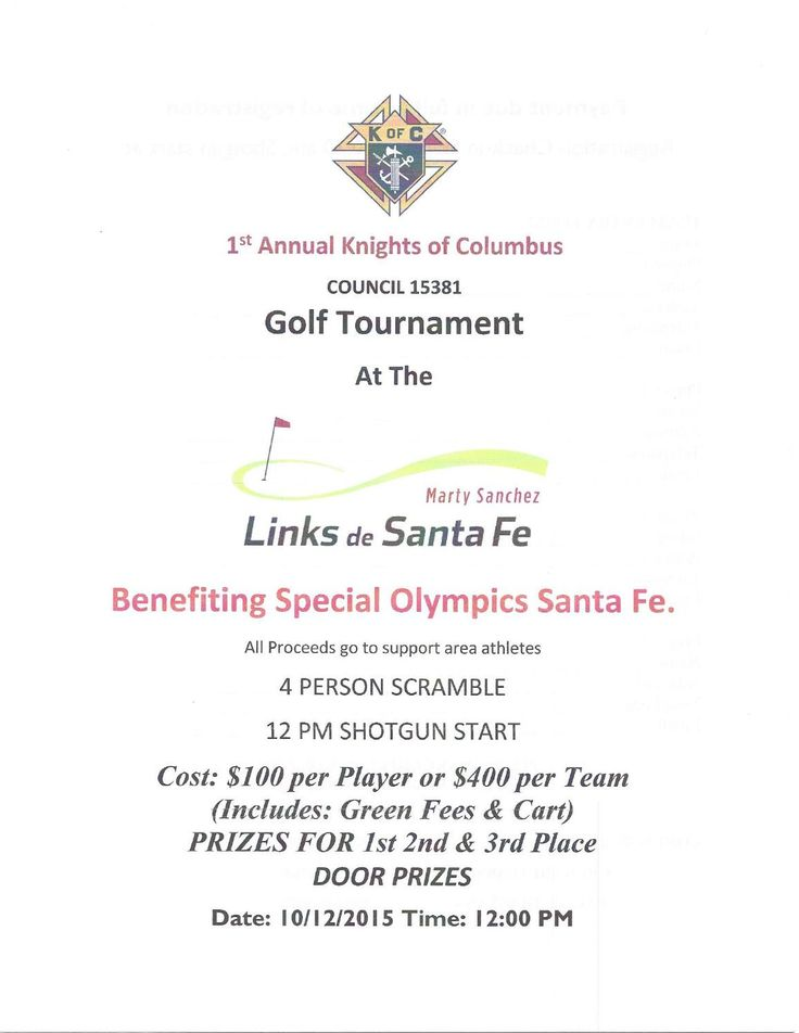 1st Annual Knights of Columbus Golf Tournament Benefiting Special Olympics Santa Fe