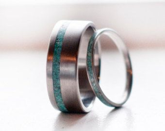 Mens Titanium and Turquoise wedding band mens by StagHeadDesigns