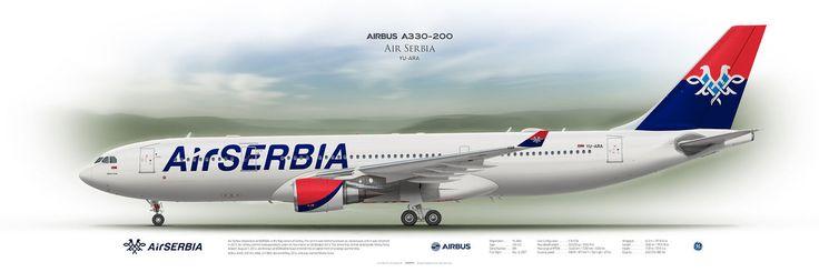 Airbus A330-200 Air Serbia YU-ARA   Airliner Profile Art Prints   www.aviaposter.com   #airliners #aviation #jetliner #airplane #pilot #aviationlovers #avgeek #jet #a330 #airserbia #airbus #posterjetavia